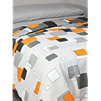 Casa Campo  Juego De Funda Nórdica Opal Gris/Naranja Cama 135 (220 x 220/240 + 1/45 x 155 cm)