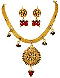 Surat Diamonds Traditional Rajasthani Spellbinding Polki Necklace & Earring Set for Women (PS99)