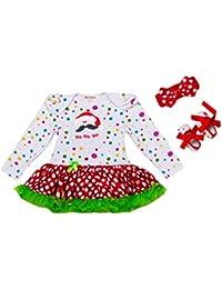 18aaa5072 Ropa Bebés Niñas Navidad Mi Primera Navidad Mangas Largas Vestido + Diadema  + Zapatos 3 pcs
