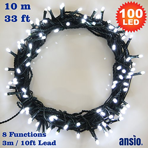 ANSIO Fairy Lights 100 LED Bright White Christmas Tree Lights Indoor amp; Outdoor String Lights 8 Functions 10m/33ft Lit Length with 3m/10ft Lead Wire - Power Operated LED Fairy Lights - Ideal for Christma