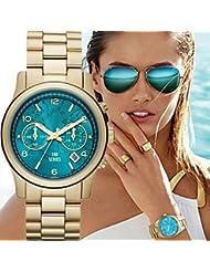 Mujeres de la moda del reloj reloj de pulsera de oro reloj de cuarzo ( Color : Azul claro , Talla : Para Mujer-Una Talla )