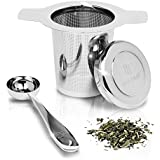 Tea Infuser Strainer + Spoon by Bar Brat ™ / Premium Micro Filter Stainless Steel Steeper / 130 Cocktail Shaker Ebook Included