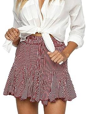 Smalltile Verano Mujeres Moda Rayas Pliegue Faldas de Playa Cintura Alta Vendajes Mini Falda de Partido Beachwear