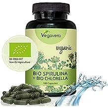BIO Spirulina + BIO Chlorella Vegavero | Laborgeprüft | 180 Kapseln | Echte BIO Qualität | Vegan ohne Zusatzstoffe und frei von Gelatine
