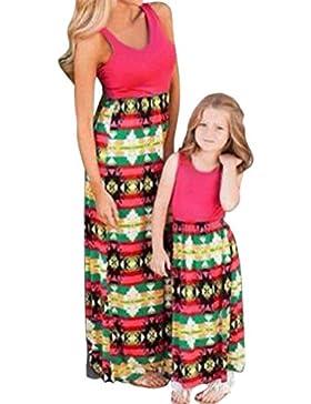 Moda Mamma E Bambini Senza Maniche Stampa Abito Casuale Famiglia Vestiti Ragazze Vestire Outfit Uguali Per La...