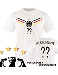 Kinder Fußball T-Shirt bedruckbar - WUNSCHNAME & NUMMER - WM / EM / DEUTSCHLAND - Rundhals Tshirt für Mädchen & Jungen in Weiß - Deutschland Trikot in div. Größen