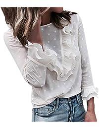 Innerternet Sexy Femme Chic T-Shirt Mode Chic Haut Dentelle Pois Manches  Longues à Col en O Blouse Bouton Tunique Chemisier… e7e7bbee9fb