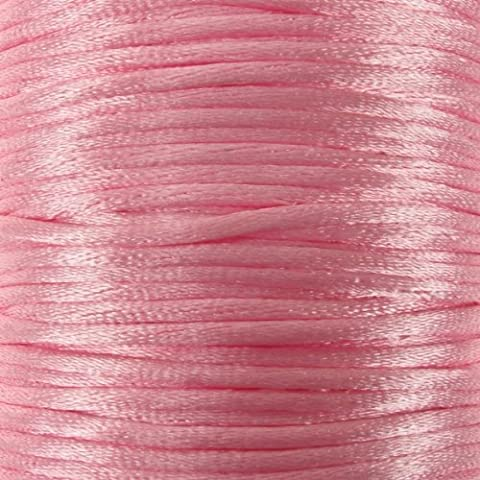 Rotolo di cordoncino a coda di topo, lunghezza: 10 m, colore: rosa, 2 mm/nodi Kumihimo, Shamballa, Braccialetto macramè, con cordoncino e perline in cordoncino, gioielli, accessori e
