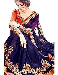 Swara Fashion Women's Georgette Thread Work Saree(SFPSN-69_Blue)