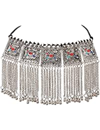 Zephyrr Necklace Boho Tribal Style Oxidized Silver Pendant Trendy Tassel Choker For Girls And Women - B07BL2LHHS
