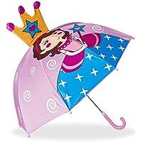 Relaxdays Paraguas Infantil de Princesa en 3D, Poliéster-Plástico, Rosa, 59 x