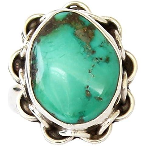 Anello in argento sterling moda per le donne turchese naturale della pietra preziosa dell'argento MANO ANELLO DA ARTIGIANI - Sterling Silver Turquoise Coral