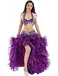 Dance Fairy Hecho a mano con cuentas de lentejuelas sujetador 34C+cinturón de danza lentejuelas+vestidos de fiesta largos de noche para bodas (Púrpura)