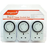 Kingavon 1 BB-TS210 24 Hour Plug-in Timer Socket Set, Set of 3 Pieces