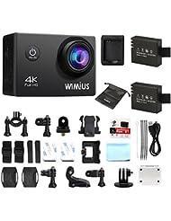 Camara Deportes 4K WiMiUS Q1 Cámara de WiFi Acción 1080p 60fps Acción Leva Video DV de Alta Definición con 2 Baterías y Cargador y Soporte de la Caja a Prueba de Agua, etc.(Negro)