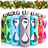 MIU COLOR Glass Water Bottle 550ml with Anti-slip Silicone Sleeve, Leak Proof Borosilicate BPA-Free Eco-Friendly Hot Cold Drink Flask, Ideal for School Home Office Travel Sports Yoga Gym