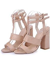 Liquidación! Covermason Moda Mujer Sandalias para mujer Tobillo Tacones altos Block Party Open Toe Shoes(41 EU, Beige)