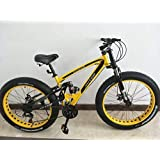 Amardeep Cycles Dual Suspension Downhill Fat Mountain Bike 21gears Yellow,26x4 Inches
