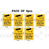 CVANU These Premises Are Under CCTV Surveillance Operation Camera Warning Sign Sticker (Pack Of 6)