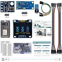 """ESP8266 Kit de estación meteorológica con DHT11 Humedad de Temperatura BMP180 Presión atmosférica BH1750FVI Sensor de luz 0.96""""OLED Amarillo Azul Pantalla para Arduino IDE Starter(Tutorial inglés)"""