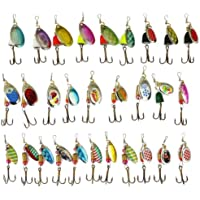 Freefisher - Cebos de cucharilla giratorios, kit de señuelos para trucha, 30 piezas, color perla
