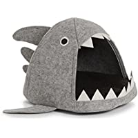 Zeller Katzen-Körbchen Hai, Filz Schlüsselkasten, Holz, grau, 45 x 38 x 32 cm