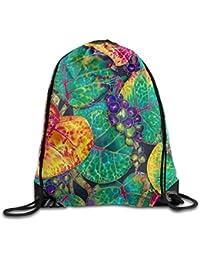 AlineAline Unisex St. Lucia Sea Grapes Print Drawstring Backpack Rucksack Shoulder Bags Gym Bag Sport