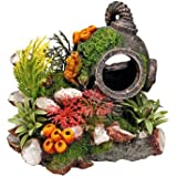 Nobby 28140 Aquarium Dekoration Aqua Ornaments, Helm mit Pflanzen