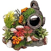 Nobby Casco con plantas, adorno de acuario 13,5 x 11 ...