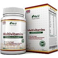 MultiVitamins & Minerals Formula–24complemento vitamínico (Vitaminas y Minerales–végétarien–hombre/mujer–Cure D '1An/365Pastillas–Suplemento de Nu U Nutrition