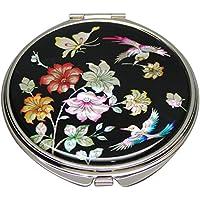 Mother of Pearl fiori di ciliegio, Design compatto, doppia lente d'ingrandimento tascabile trucco Bellezza-Specchio da borsetta