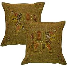 Hare Krishna Funda de cojín Zari Elephant Square Bedding Sofá Sofá Funda de Almohada (Verde
