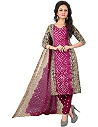 Taboody Empire Nice Cool Pink Satin Cotton Handi Crafts Bandhani Work With Straight Salwar Suit For Girls And...