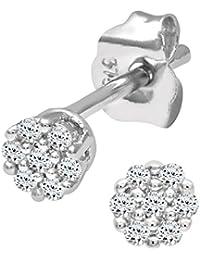 Naava Damen-Ohrstecker 9k 375 Weißgold rhodiniert Diamant weiß Rundschliff - PE0338