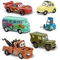 Disney Pixar Cars figura Set–Saetta McQueen, Tow Mater/Martin, Sarge, Guido, Luigi e Fillmore (PVC, plastica)