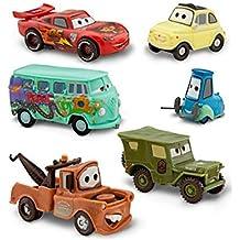 Disney Pixar Cars Figura set–Lightning Mcqueen, Tow Mater/Martin, Sarge, Guido, Luigi y Fillmore (PVC, plástico)