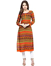 IVES Straight Orange Rayon Ikat Casual Kurti For Women