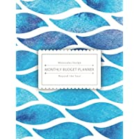 Monthly Budget Planner: Blue Wave Watercolor Monthly Bill Tracker, (8.5x11 inches) : 24 Months Expense tracker included Graph Paper: Volume 1