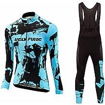 Uglyfrog Último Mujer Cálido Ciclismo Mangas Largas Maillots+Bib Pantalones cortos Set Cremallera Completa Moda