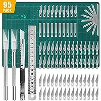 Lhedon 95 PCS Precision Carving Craft Hobby cuchillos Kit contiene 82 cuchillas de repuesto con 2 asas, 11 piezas de repuesto con 1 mango, 1 tabla de cortar A5, 1 regla de acero para manualidades