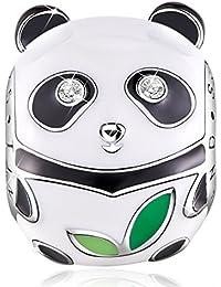 TINYSAND Encantos de Panda Bead en esmalte blanco y negro para el brazalete Europa