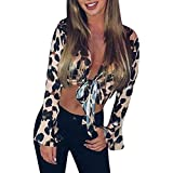 40%-60% Off!Ieason Women Sexy Top V-Neck Leopart Print Flare Sleeve Bandage Party Club Tie Up Blouse