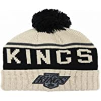 dd6869f7d1e Los Angeles Kings NHL BEIGE High Five Cuff Knit Mitchell   Ness Bobble Beanie  Hat One
