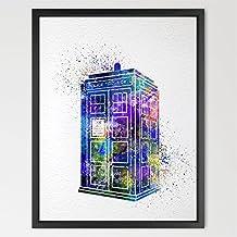 dignovel Studios Tardis de Dr Who, multicolor de la acuarela Art Print Wall Art Hanging Decoración del hogar guardería niños Art fine Art print n360-unframed inspirador de motivación