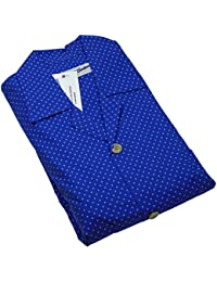 Pijamas Set Hombres Chelsea Blue Spot, aplicado con brocha multa superior del algodón y pantalones, azul real en varios tamaños