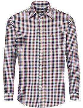 Almsach Trachtenhemd Fidl Regular Fit Mehrfarbig in Rot, Blau und Grün Inklusive Volksfestfinder