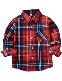 b52a1e48fef1b Yying Camisa Niño Manga Larga - Camisa Cuadros Blusa Niños Tops Niñas  Camiseta Primavera Otoño Tshirt Tartan Shirt Escuela Abrigo…