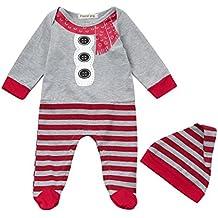 Jumpsuit Romper Camisas y Pantalones Bebe Navidad Pijamas Enteros de Invierno para Niño y Niña por ESAILQ I