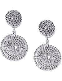 Classic Woven Finish Rhodium Plated Drop earrings