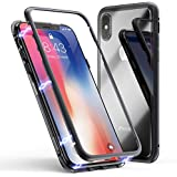 IPhone X Case, MR Mobile Hub Magnetic Adsorption Case Ultra Slim Metal Frame Tempered Glass With Built-in Magnet Flip Cover [Support Wireless Charging] For Apple IPhone X (Clear Black)
